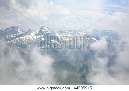 Clouds And Pinnacles Of French Pyrenees Mountains Near Pic Du Midi