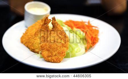 Fried Shrimp Salad Food