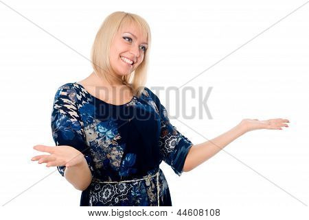 Smiling Girl In Joyful Admiration, Isolated