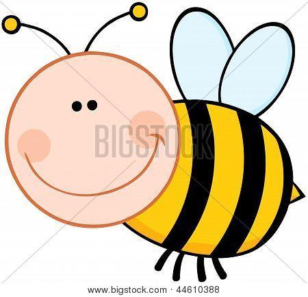 Bumble Bee Cartoon Mascot Character Flying