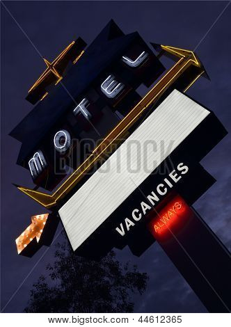 Old neon motel sign at dusk