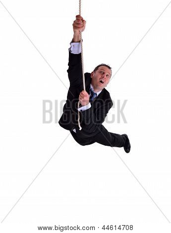 Businessman Hanging On