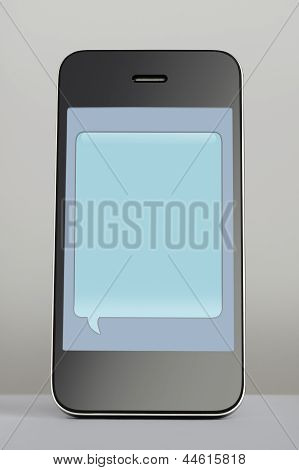 Mobile Phone With Text Message Speech Bubble