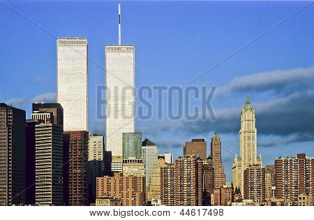 Twin Towers In Sunset