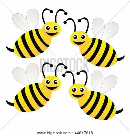 Four Amusing Drawn Bees On A White Background