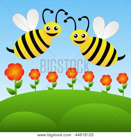 Two Amusing Drawn Bees Fly Above Red Flowers On A Blue Background