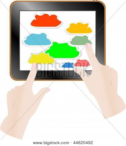 Cloud Computing Concept. Finger Touching Cloud On A Touch Screen