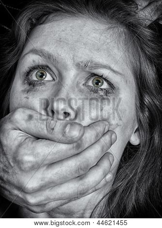 Portrait Of Scared Woman With Tears. Violence Concept. Black And White