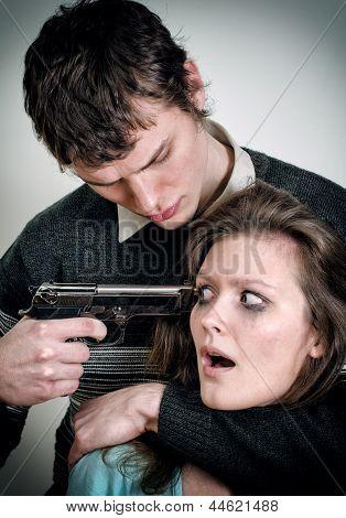 Man With Gun Threaten Woman