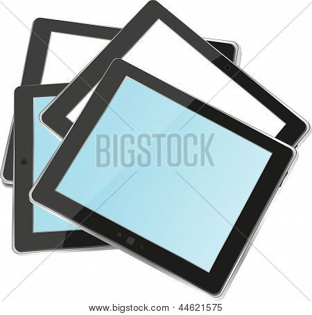 Different Colored Vertical Tablet Pc Set With Copyspace On The Screen