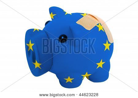 Closed Piggy Rich Bank With Bandage In Colors National Flag Of Europe