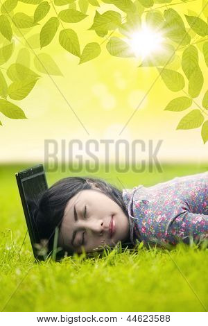 Woman Sleeping On Laptop
