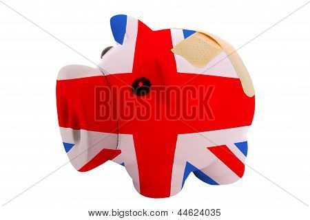Closed Piggy Rich Bank With Bandage In Colors National Flag Of United Kingdom