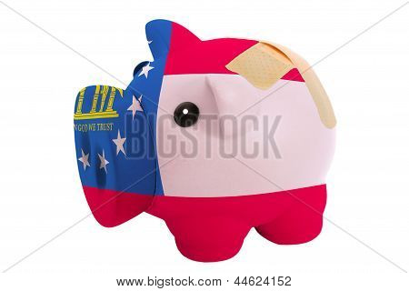 Closed Piggy Rich Bank With Bandage In Colors Flag Of American State Of Georgia