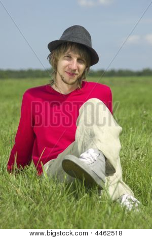 Portrait Of The Teenager In A Hat On A Meadow Ii