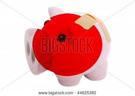 Closed Piggy Rich Bank With Bandage In Colors National Flag Of Japan