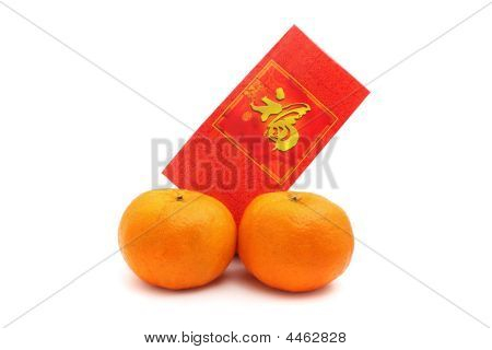 Mandarin Orange And Red Packet