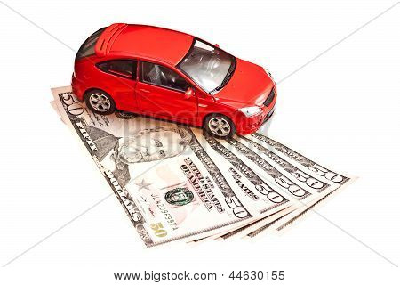 Car And Money. Concept For Buying, Renting, Insurance, Fuel, Service And Repair Costs