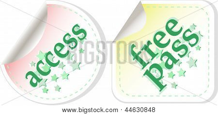 Free Pass And Access Stamps Set, art illustration