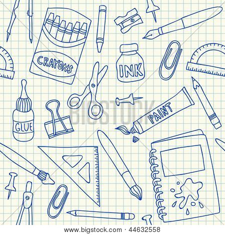 School Supplies Seamless Pattern