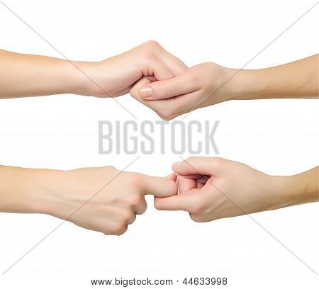 Hands In Shape Of Lock Holding Each Other Isolated