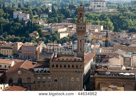 Florence - the view on Palazzo Vecchio from the dome Duomo