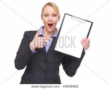 Portrait Of A Surprised Business Woman Showing Empty Sign Clipboard