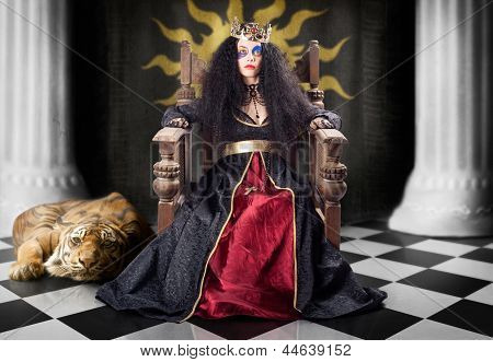 Fashion Queen In Crown Sitting In Jester Court