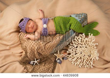 Newborn Baby Girl Wearing a Mermaid Costume