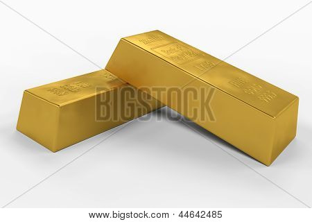 3D gold bars with clipping path