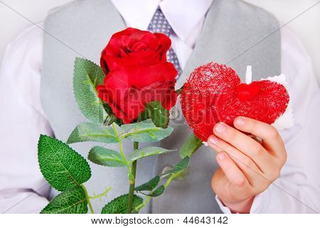 Boy With Red Rose And Heart