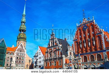 Blackheads House And Saint Peter's Church In Riga