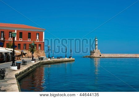 Promenade And Lighthouse In Chania, Crete, Greece