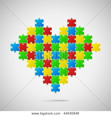 Heart from puzzle pieces