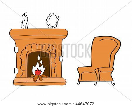 Fireplace With Chair