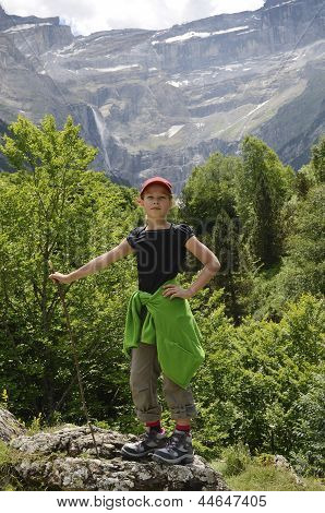 Youth Hiker Against The Mountain (cirque Of Gavarnie)