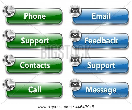 Contacts And Support Metallic And Glossy Website Design Elements