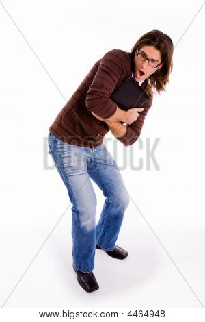 Side Pose Of Shocked Man Carrying Folder