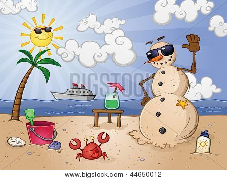Sand Snowman Cartoon Character on a Tropical Vacation