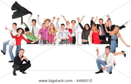 Happy People Crowd With Board For Text Collage
