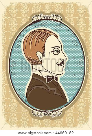 Vintage Gentleman Face Portraits.vector Illustration
