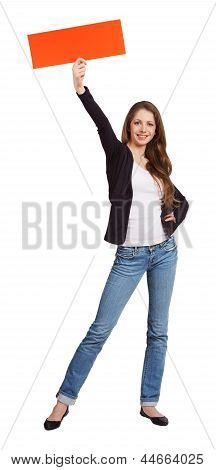 Woman In Jeans Holding A Red Banner