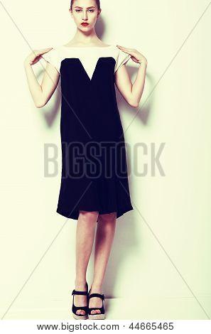 Fashion Clothes. Modish Woman In Elegant Dress - Series Of Photos