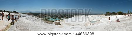 Panoramic View From The Top Of Travertine Pools In Pamukkale, Turkey.