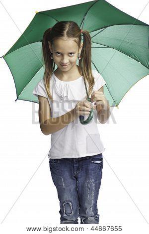 Smiling Girl Is Under Umbrella