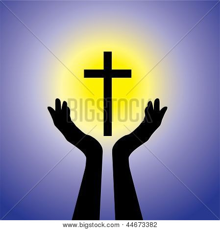 Person Praying Or Worshiping To Crucifix Or Jesus- Vector Graphic