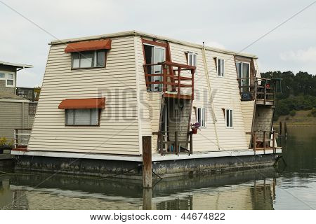Floating home near Golden Gate Bridge in San Francisco