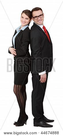 Young Business Couple- Back On Back
