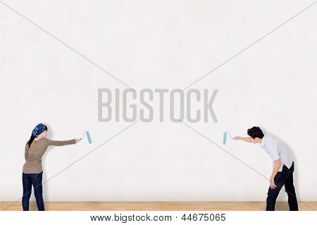 Asian Couple Paint On White Background