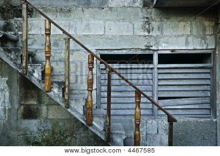 Stair Railing And Empty Gray Building